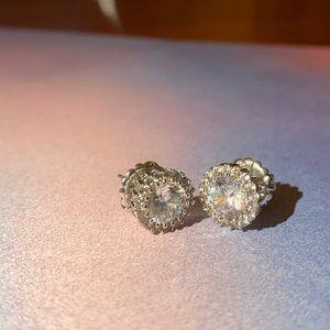 Kenneth Jay Lane CZ silver tone earrings
